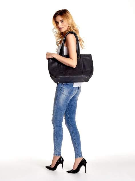 Czarna miękka torba shopper bag                                  zdj.                                  6