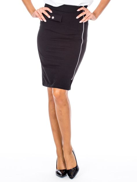 Czarna ołówkowa spódnica z suwakiem                               zdj.                              1