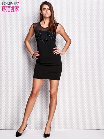 Czarna ołówkowa sukienka z aplikacją                                  zdj.                                  4