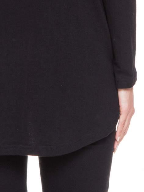 Czarna otwarta bluza dresowa z kapturem                                  zdj.                                  7