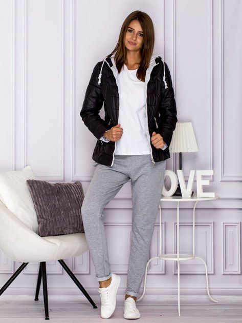 Czarna pikowana kurtka przejściowa z ozdobnymi suwakami                              zdj.                              7