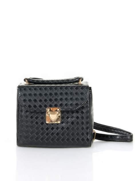 Czarna pikowana mini torebka kuferek w stylu retro                                  zdj.                                  1