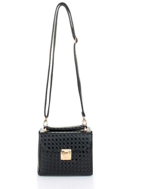 Czarna pikowana mini torebka kuferek w stylu retro                                  zdj.                                  5