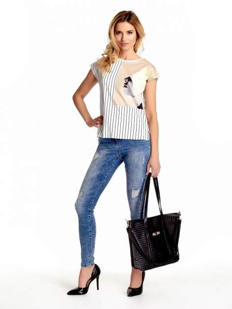 Czarna pleciona torba shopper bag ze złotym detalem                                  zdj.                                  2