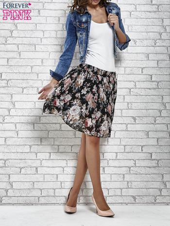 Czarna plisowana spódnica w kwiaty                                  zdj.                                  2