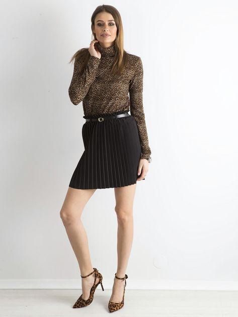 Czarna plisowana spódnica z paskiem                              zdj.                              4