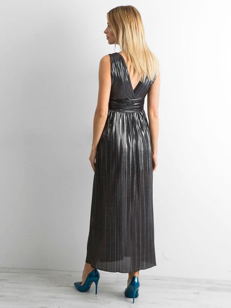 Czarna plisowana sukienka maxi                              zdj.                              2