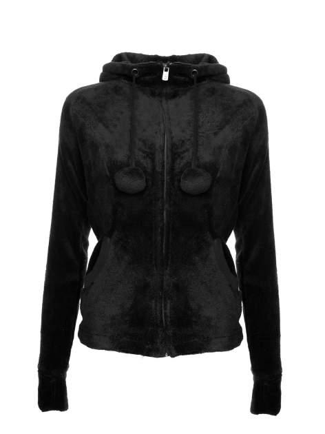 Czarna pluszowa bluza z kapturem z uszkami i pomponami                                  zdj.                                  2