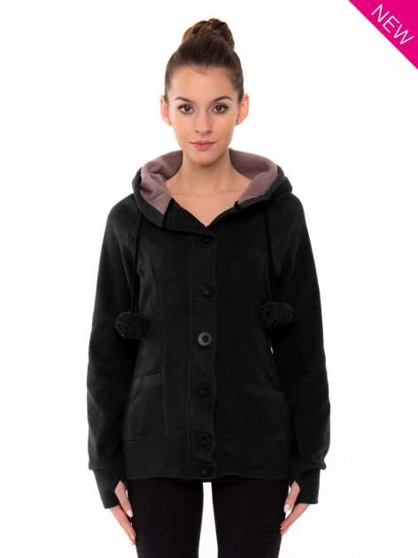 Czarna polarowa bluza z kapturem z uszkami                                  zdj.                                  2