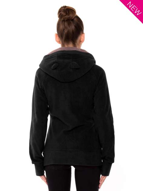 Czarna polarowa bluza z kapturem z uszkami                                  zdj.                                  3