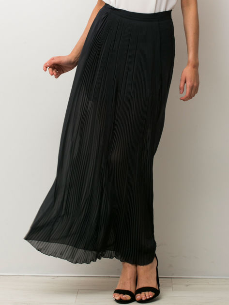 Czarna półtransparentna spódnica maxi plisowana                                  zdj.                                  4