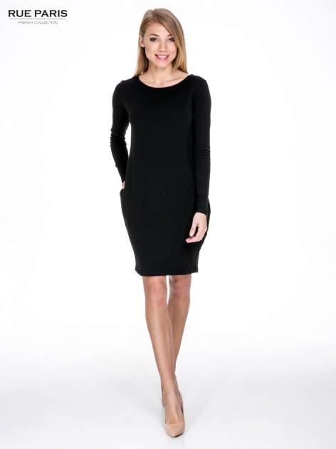 Czarna prosta sukienka z kieszeniami                                  zdj.                                  2