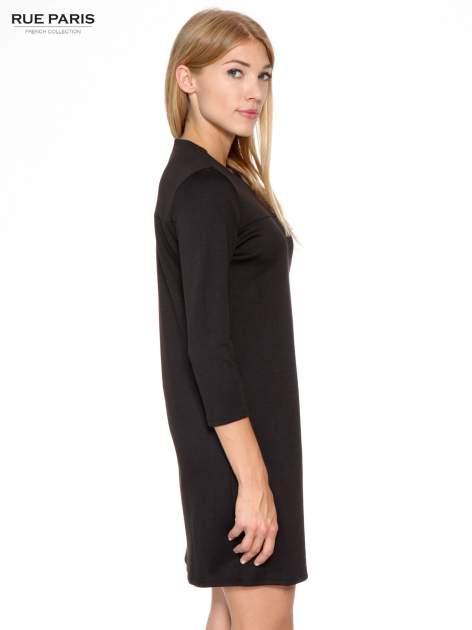 Czarna prosta sukienka z rękawami 3/4                                  zdj.                                  3