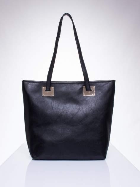 Czarna prosta torba shopper bag ze złotymi okuciami