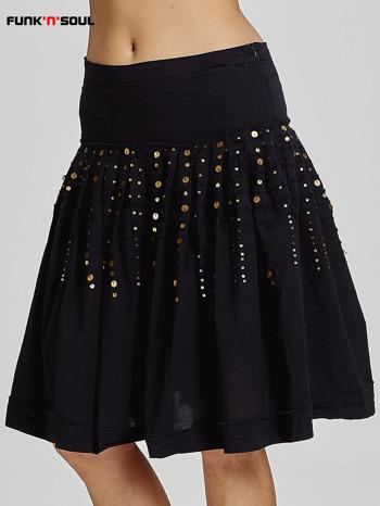 Czarna rozkloszowana spódnica z cekinami Funk n Soul                                  zdj.                                  1