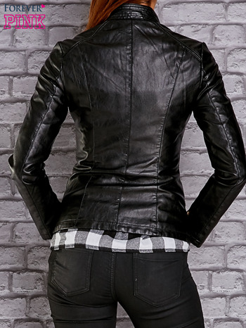 Czarna skórzana kurtka ramoneska ze złotym suwakiem                                  zdj.                                  2