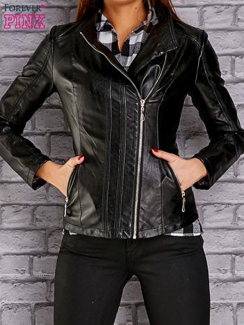 Czarna skórzana kurtka ramoneska ze złotym suwakiem                                  zdj.                                  1