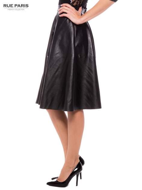 Czarna skórzana spódnica midi szyta z półkola                                  zdj.                                  2