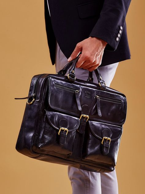 Czarna skórzana torba męska z odpinanym paskiem                              zdj.                              3