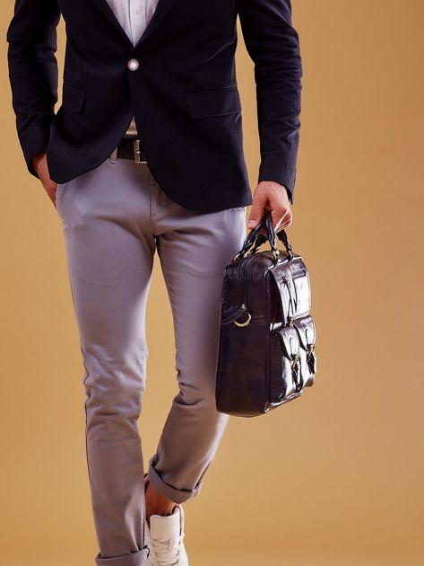 Czarna skórzana torba męska z odpinanym paskiem                              zdj.                              6