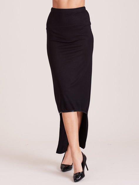 Czarna spódnica maxi z dłuższym tyłem i obszyciem ze skóry                              zdj.                              1