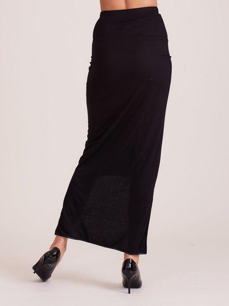 Czarna spódnica maxi z dłuższym tyłem i obszyciem ze skóry                              zdj.                              3