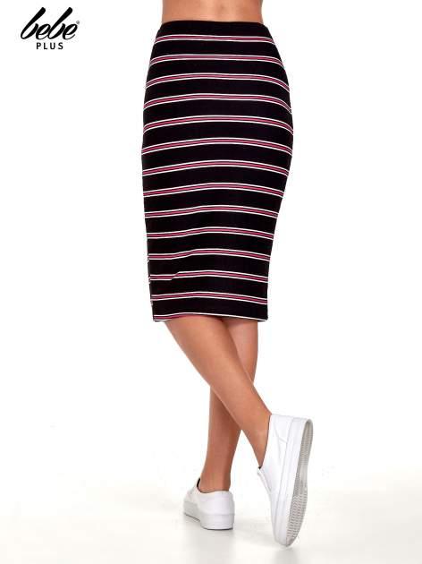 Czarna spódnica midi w różowe paski                                  zdj.                                  4