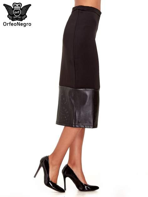 Czarna spódnica midi z siatkowym modułem                                  zdj.                                  3