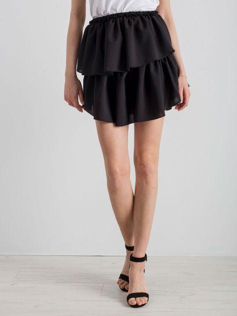 Czarna spódnica mini z falbanami                              zdj.                              5