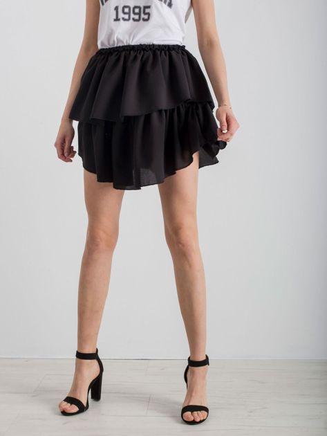 Czarna spódnica mini z falbanami                              zdj.                              6