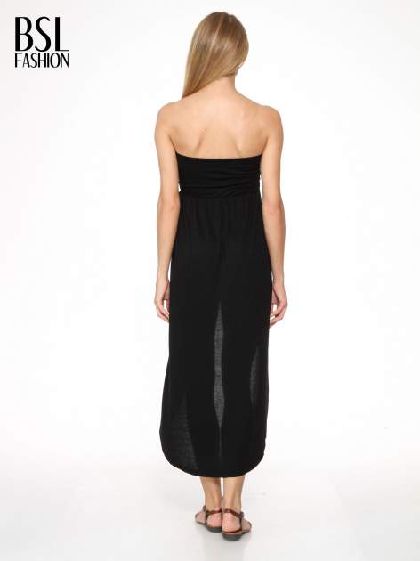 Czarna sukienka bez ramiączek z dłuższym tyłem                                  zdj.                                  2