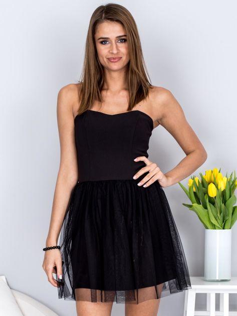 Czarna sukienka bez ramiączek z tiulem                              zdj.                              1