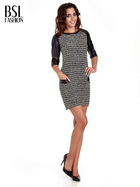 Czarna sukienka bouclé ze skórzanymi rękawami                                  zdj.                                  2