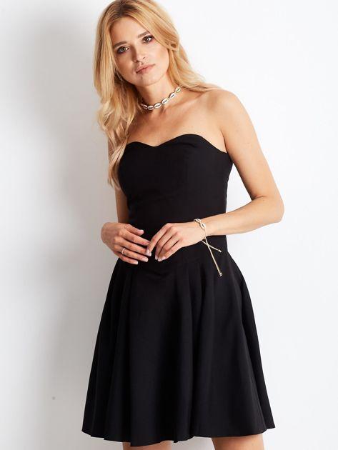 Czarna sukienka damska z dekoltem serce                              zdj.                              4
