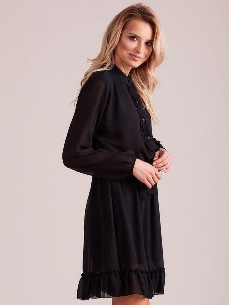Czarna sukienka damska z falbankami                              zdj.                              3