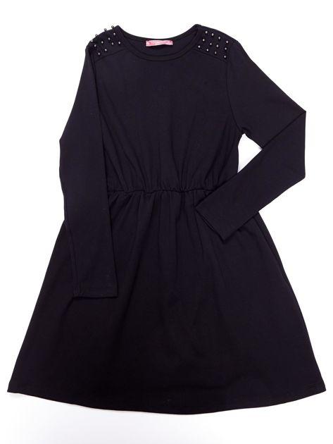 Czarna sukienka dla dziewczynki z perełkami                              zdj.                              5