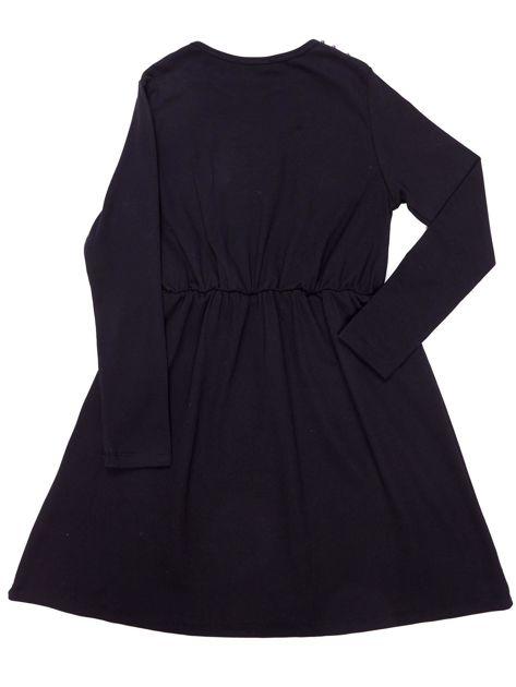 Czarna sukienka dla dziewczynki z perełkami                              zdj.                              6