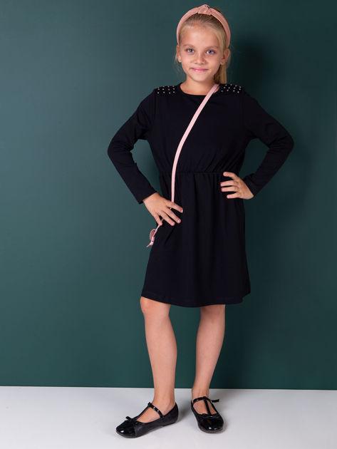 Czarna sukienka dla dziewczynki z perełkami                              zdj.                              2