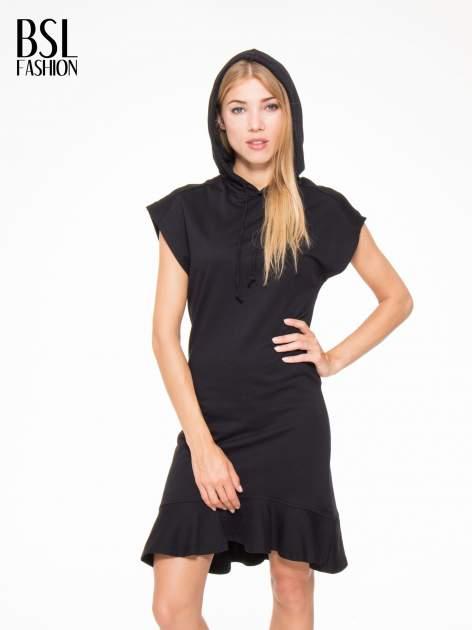Czarna sukienka dresowa z falbaną na dole                                  zdj.                                  6