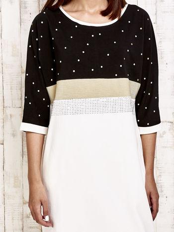 Czarna sukienka dresowa z kryształkami i dżetami                                  zdj.                                  5