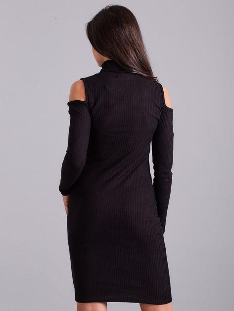 Czarna sukienka dzianinowa cut out z golfem                              zdj.                              2