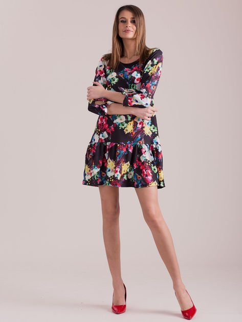 Czarna sukienka floral print z wiązanymi rękawami                              zdj.                              4