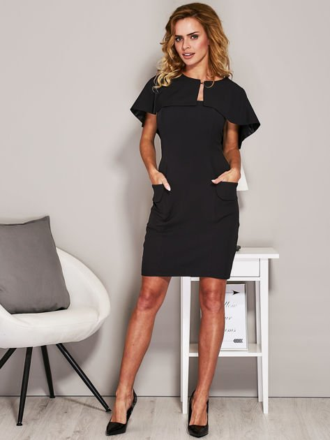 Czarna sukienka koktajlowa z narzutką                              zdj.                              4