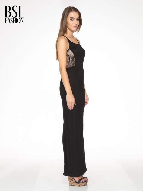 Czarna sukienka maxi na ramiączkach z koronkowym tyłem                                  zdj.                                  3