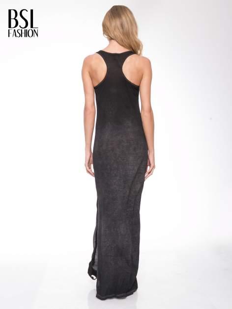Czarna sukienka maxi z efektem sprania                                  zdj.                                  3
