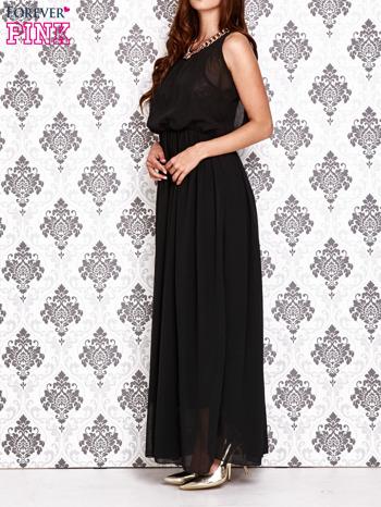 Czarna sukienka maxi z łańcuchem przy dekolcie                                  zdj.                                  3