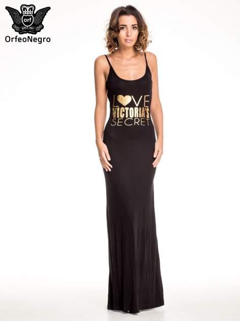 Czarna sukienka maxi z napisem LOVE VICTORIA'S SECRET                                  zdj.                                  1