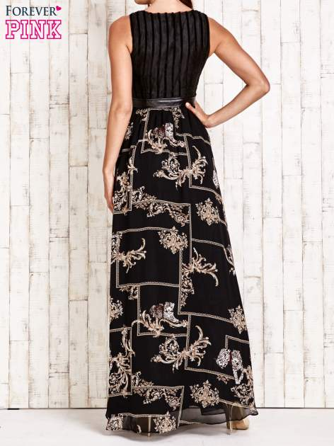 Czarna sukienka maxi ze skórzanym pasem                                  zdj.                                  2