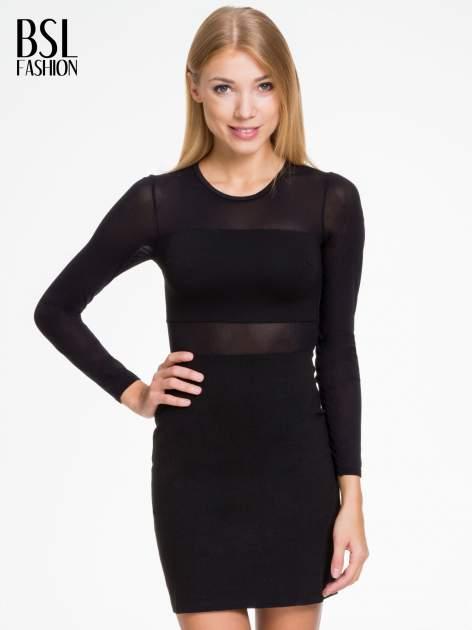 Czarna sukienka tuba z transparentnymi modułami                                  zdj.                                  1