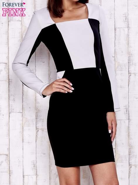 Czarna sukienka two tone z kwadratowym dekoltem                                  zdj.                                  1